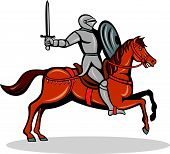 Knight Riding Horse Cartoon