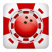 Square red casino chips of bowling sports betting