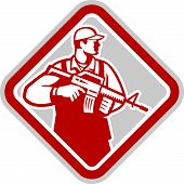 Soldier Serviceman Military Assault Rifle Shield Retro
