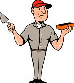 Bricklayer Mason Plasterer Standing Cartoon