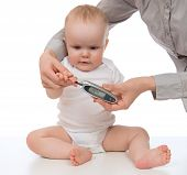 Measuring Glucose Level Blood Chemistry Test From Diabetes Child Baby