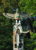 stock photo of totem pole  - Totem Pole in Stanley Park Vancouver British Columbia - JPG