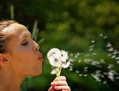 a pretty woman blowing on dandelion weed flowers