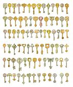 Alphabet And Symbols On Fairytale Keys. Painting, Isolated On White