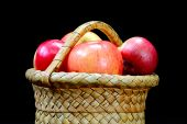 Apples In The Basket On A Black
