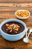 Brazilian Dessert Acai In Blue Bowl With Muesli And Spoon