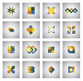 Business Icons On Various Shapes And Colors - Concept Vector Graphic