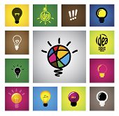 Colorful Creative Idea Bulb Icons & Symbols - Concept Vector Graphic