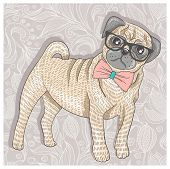 Hipster Pug With Glasses And Bowtie. Cute Puppy Illustration For Children And Kids. Dog Background.