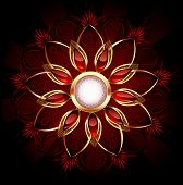 Round banner with abstract flower