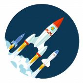 Rocket icons Start Up and Launch Symbol for New Businesses Innovation Development Trendy Modern Flat
