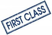 First Class Blue Square Grungy Stamp Isolated On White Background