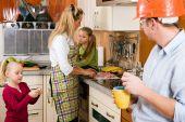 Family doing their breakfast routine