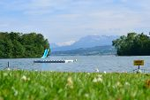 View to Lake Sempach and the Alps
