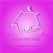 Home bedroom. Paper sticker as bookmark. Vector illustration. Eps10.