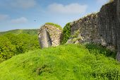 Ruins at Corfe Castle Dorset England built by William the Conqueror in 11th century