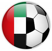 Emirates Flag With Soccer Ball Background