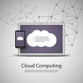 Cloud Computing and Networks Concept with Laptop Computer and Smartphone. Eps 10 Stock Vector Illustration