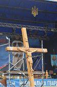 KIEV, UKRAINE - APR 19, 2014:Crucifixion of Ukraine.Burned downtown of Kiev.Rioters camp. Putsch of junta in Kiev and Western Ukraine.April 19, 2014 Kiev, Ukraine