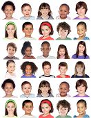 Photo collage of children isolated on white background