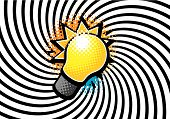 pic of dessin  - a bulb design on a black and white warped background - JPG