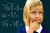 Schoolgirl Ponders Solving A Mathematical Problem