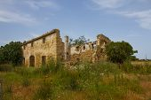 picture of derelict  - Derelict abandoned farmhouse in countryside - JPG