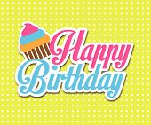 pic of striking  - Simple Happy Birthday wish vector design in striking and colorful colors - JPG