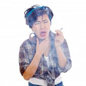 Young asian with cigarette in hand having bad cough, isolated on white background