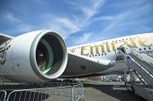 BERLIN, GERMANY - MAY 20, 2014: The aircraft Emirates Airbus A380, demonstration during the International Aerospace Exhibition ILA Berlin Air Show-2014.