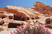 stock photo of petra jordan  - View of the tombs in Petra - JPG