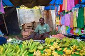 HIKKADUWA, SRI LANKA - FEBRUARY 23, 2014: Local street vendor selling bananas. The Sunday market is
