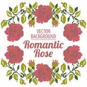 Frame of roses, embroider
