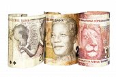 Three South African Bank Notes Showing Elephant Mandela And Lion