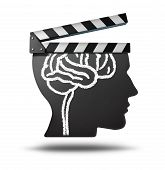 stock photo of freedom speech  - Education videos and learning videos online as a tool for educating and teaching new skills through entertainment media movies as documentaries and biography or history clips on the internet or at a theatre cinema - JPG
