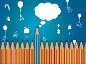 Pencil With Speech Bubble, Celebration Background