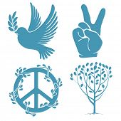 stock photo of v-day  - Set of symbols for the International Day of Peace - JPG