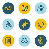 Medicine web icon set 2, blue and yellow circle buttons