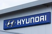 Dusseldorf, Germany - June 12, 2011: Hyundai sign on car dealer's building. Hyundai Motor Company is the world's fifth largest automobile manufacturer headquartered in Seoul, South Korea.