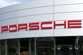 Essen, Germany - September 1, 2011: Porsche signage at car dealer's building. Porsche is a luxury hi