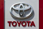 Dusseldorf, Germany - June 12, 2011: Toyota logo at a car retailer's building. Toyota Motor Co is wo