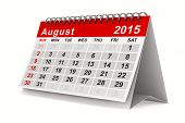 2015 year calendar. August. Isolated 3D image