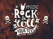 Vintage Label, Rock and Roll Style. Typography Elements. Wood Texture Background