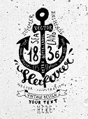 Black Anchor. Vintage Label, Concrete Wall Background. Typography Elements. Concrete Background Texture.