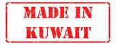 Made in Kuwait - inscription on Red Rubber Stamp.