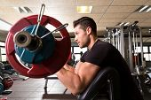stock photo of bench  - biceps preacher bench arm curl workout man at fitness gym - JPG