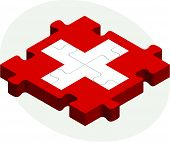 Vector illustration of Swiss Flag in puzzle isolated on white background