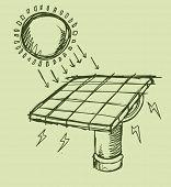 Solar Energy Sketch Vector illustration Art