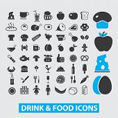 drink, food, restaurants, grocery store icons set, vector