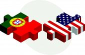 Portuguese and USA Flags in puzzle isolated on white background